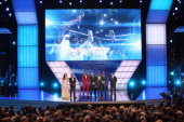 Sean 'Diddy' Combs presents Best Team award to winners NBA player LeBron James NBA coaches David Fizdale and Erik Spoelstra along with NBA players...