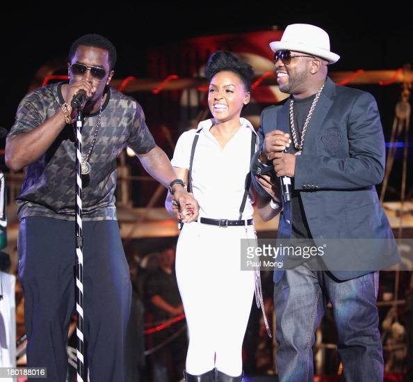 Sean 'Diddy' Combs speaks as Janelle Monae and Big Boi listen as Monae and Target celebrate the release of her new album 'The Electric Lady' at Pier...