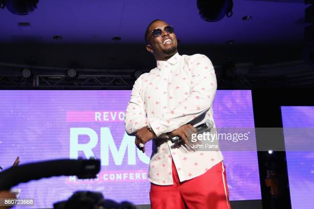 Sean 'Diddy' Combs speaks on stage at the 2017 REVOLT Music Conference Chairman's Welcome Ceremony at Eden Roc Hotel on October 12 2017 in Miami...