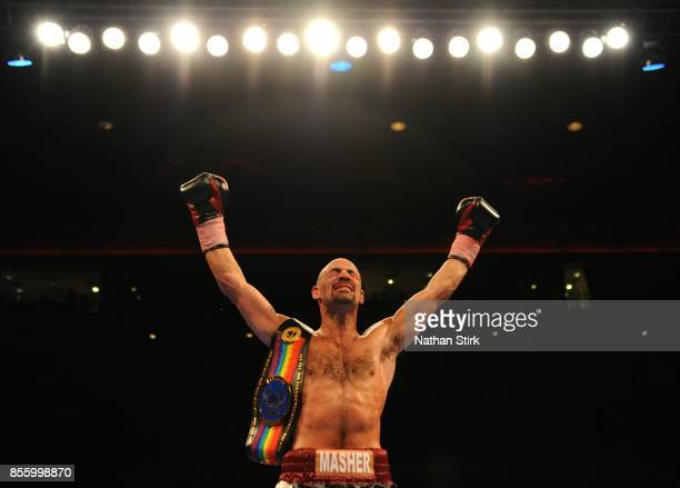 Sean Dodd celebrates after beating Tom Stalker during the Battle on the Mersey Commonwealth Lightweight Championship fight at Echo Arena on September...