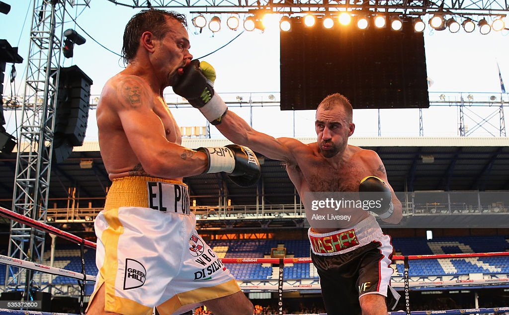 Sean Dodd lands a right shot on Pasquale Di Silvio during the Vacant WBC International Lightweight Championship fight between Sean Dodd and Pasquale Di Silvio at Goodison Park on May 29, 2016 in Liverpool, England.
