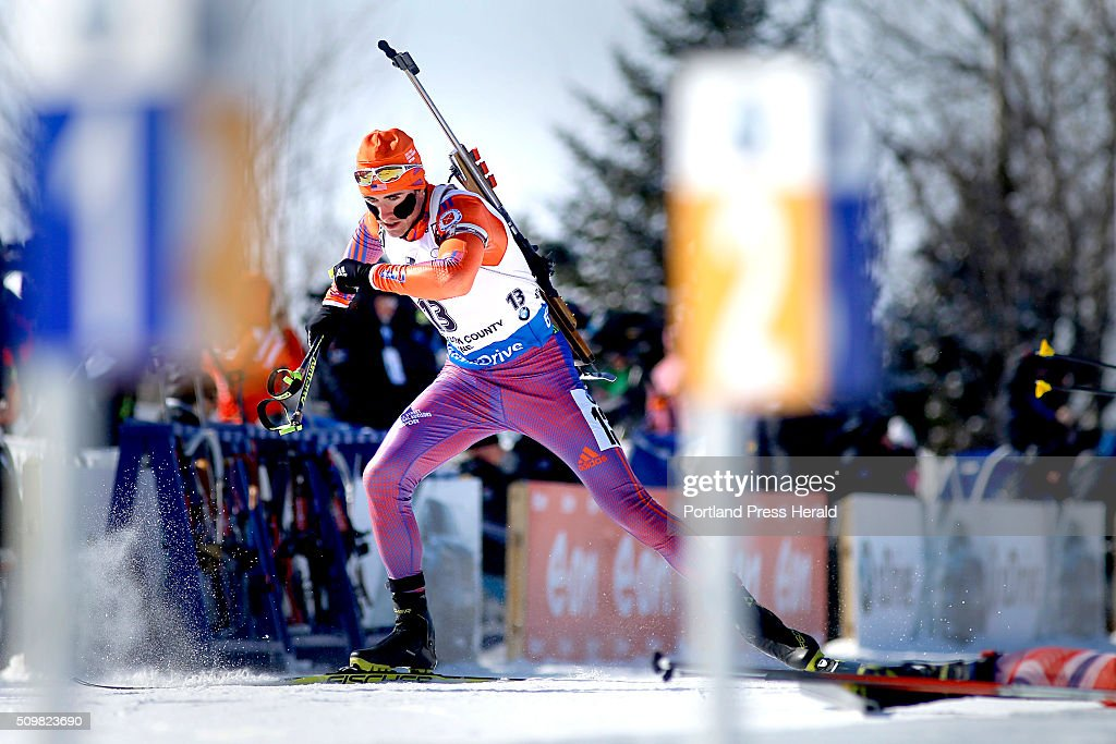 Sean Doherty (cq) of the United States takes off after shooting from the prone position during the men's 12.5-kilometer pursuit at the BMW IBU World Cup Biathlon at the Nordic Heritage Center in Presque Isle, Friday, February 12, 2016.