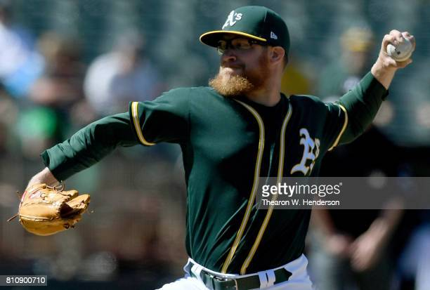Sean Doolittle of the Oakland Athletics pitches against the Chicago White Sox in the top of the ninth inning at Oakland Alameda Coliseum on July 5...