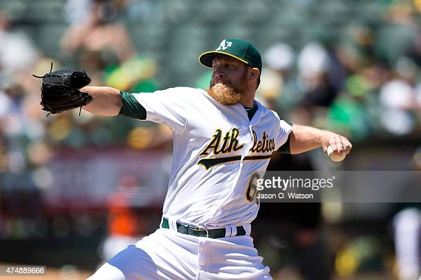 Sean Doolittle of the Oakland Athletics pitches against the Detroit Tigers during the sixth inning at Oco Coliseum on May 27 2015 in Oakland...