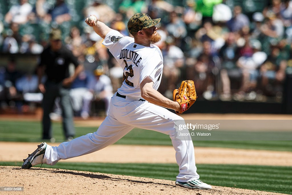 <a gi-track='captionPersonalityLinkClicked' href=/galleries/search?phrase=Sean+Doolittle&family=editorial&specificpeople=5740795 ng-click='$event.stopPropagation()'>Sean Doolittle</a> #62 of the Oakland Athletics pitches against the Minnesota Twins during the seventh inning at the Oakland Coliseum on May 30, 2016 in Oakland, California. The Oakland Athletics defeated the Minnesota Twins 3-2.
