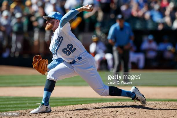 Sean Doolittle of the Oakland Athletics pitches against the New York Yankees during the ninth inning at the Oakland Coliseum on June 17 2017 in...