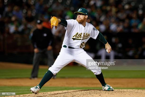 Sean Doolittle of the Oakland Athletics pitches against the New York Yankees during the sixth inning at the Oakland Coliseum on June 15 2017 in...