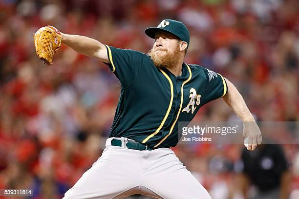 Sean Doolittle of the Oakland Athletics pitches against the Cincinnati Reds in the eighth inning of the game at Great American Ball Park on June 10...