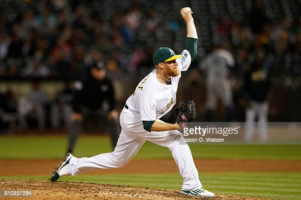 Sean Doolittle of the Oakland Athletics pitches against the Seattle Mariners during the eighth inning at the Oakland Coliseum on September 9 2016 in...