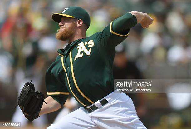 Sean Doolittle of the Oakland Athletics pitches against the Tampa Bay Rays in the top of the seventh inning at Oco Coliseum on August 23 2015 in...