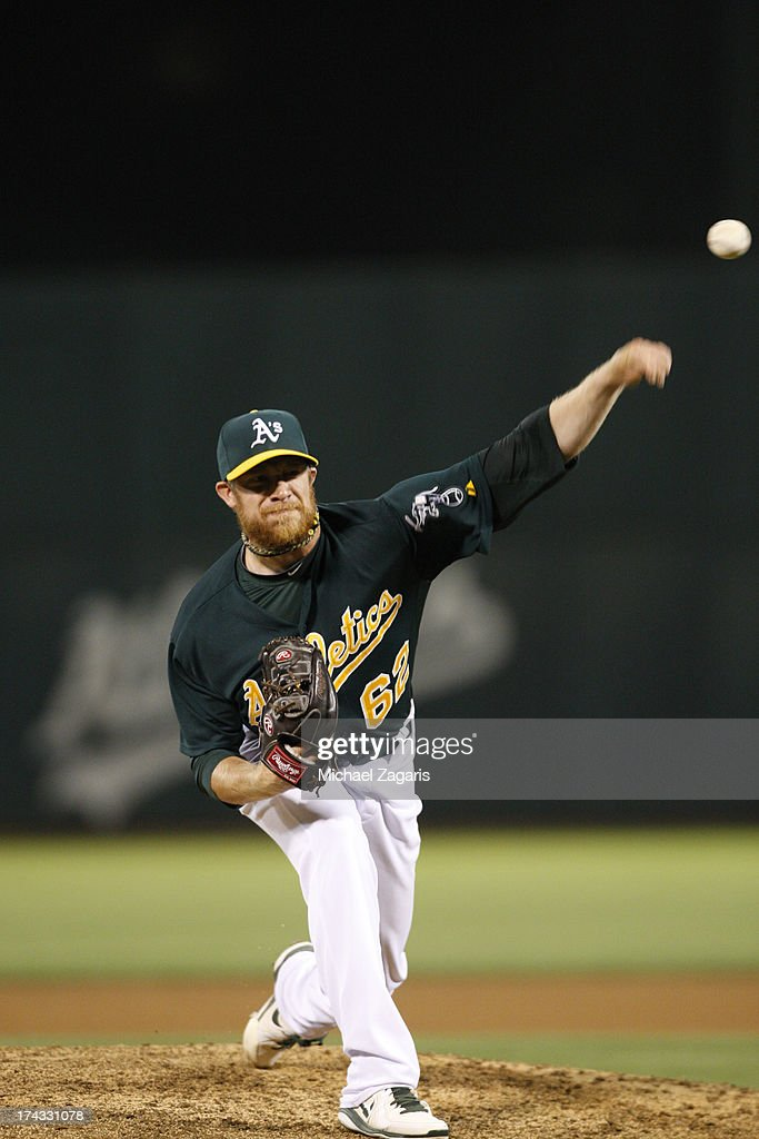 Sean Doolittle #62 of the Oakland Athletics pitches during the game against the Boston Red Sox at O.co Coliseum on July 12, 2013 in Oakland, California. The Red Sox defeated the Athletics 4-2.