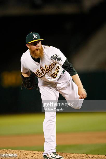 Sean Doolittle of the Oakland Athletics pitches during the game against the Houston Astros at Oco Coliseum on July 22 2014 in Oakland California The...