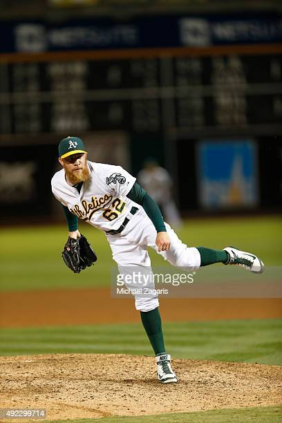 Sean Doolittle of the Oakland Athletics pitches during the game against the San Francisco Giants at Oco Coliseum on September 25 2015 in Oakland...