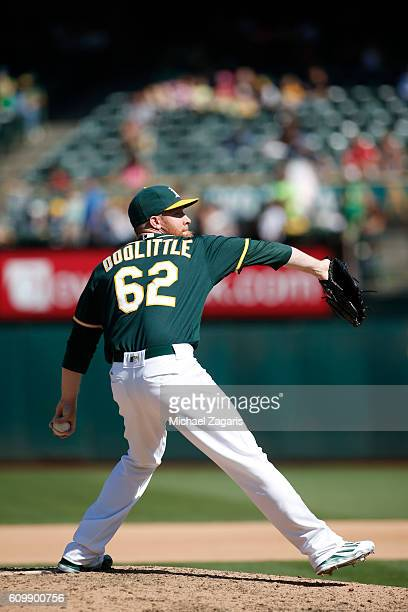 Sean Doolittle of the Oakland Athletics pitches during the game against the Los Angeles Angels of Anaheim at the Oakland Coliseum on September 5 2016...