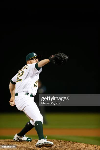Sean Doolittle of the Oakland Athletics pitches during the game against the Los Angeles Angels of Anaheim at the Oakland Alameda Coliseum on April 3...