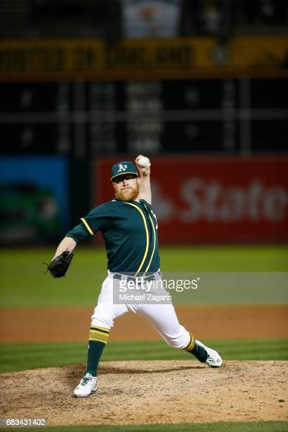 Sean Doolittle of the Oakland Athletics pitches during the game against the Seattle Mariners at the Oakland Alameda Coliseum on April 21 2017 in...