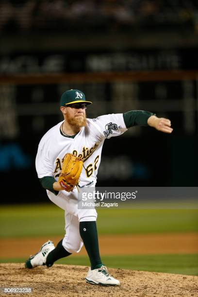 Sean Doolittle of the Oakland Athletics pitches during the game against the New York Yankees at the Oakland Alameda Coliseum on June 15 2017 in...