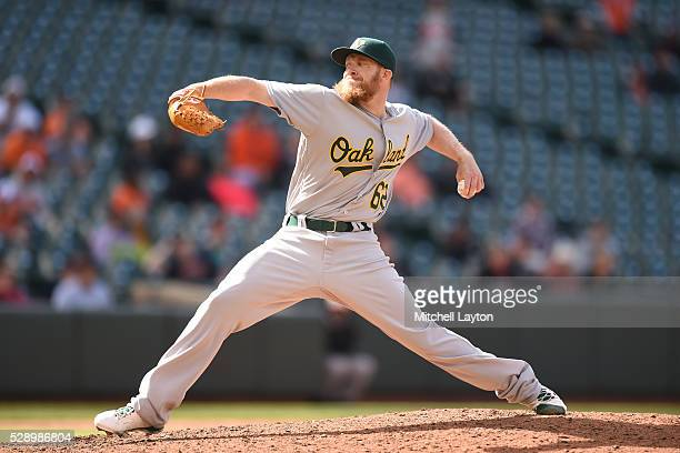 Sean Doolittle of the Oakland Athletics pitches in the ninth inning during game one of a double header baseball game against the Baltimore Orioles at...