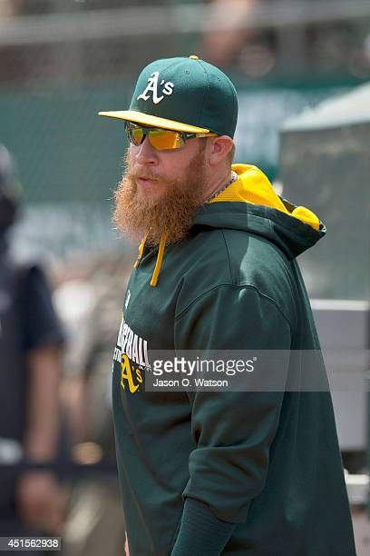 Sean Doolittle of the Oakland Athletics stands in the dugout before the game against the Boston Red Sox at Oco Coliseum on June 21 2014 in Oakland...