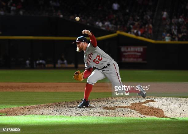Sean Doolittle of the Washington Nationals delivers a pitch against the Arizona Diamondbacks at Chase Field on July 23 2017 in Phoenix Arizona