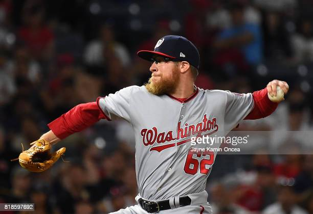 Sean Doolittle of the Washington Nationals earns a save in the ninth inning of the game against the Los Angeles Angels of Anaheim at Angel Stadium of...