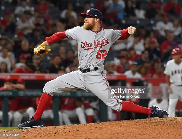 Sean Doolittle of the Washington Nationals earns a save in the ninth inning of the game against the Los Angeles Angels at Angel Stadium of Anaheim on...