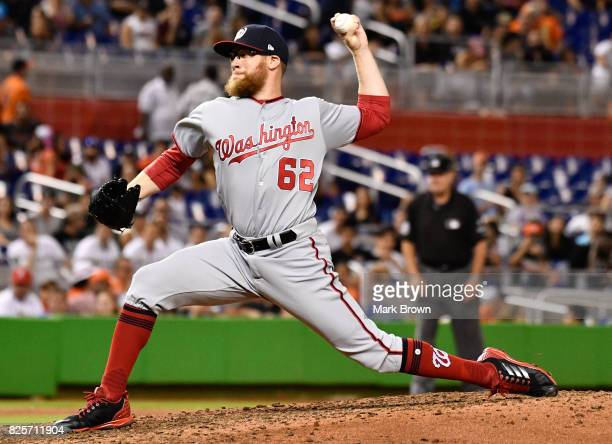 Sean Doolittle of the Washington Nationals in action during the game between the Miami Marlins and the Washington Nationals at Marlins Park on July...