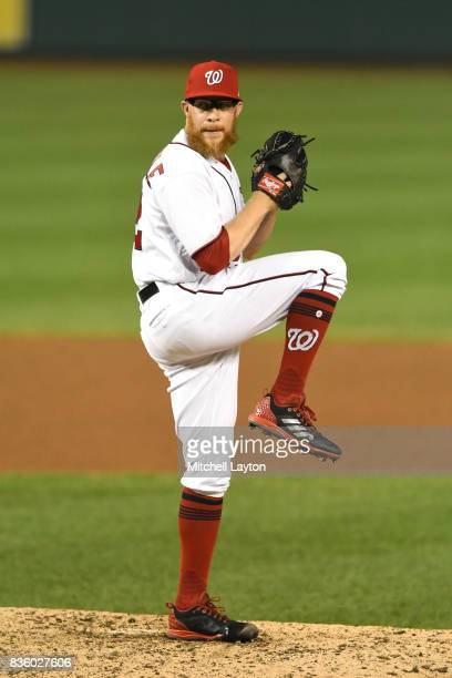 Sean Doolittle of the Washington Nationals pitches during a baseball game against the Los Angeles Angels of Anaheim at Nationals Park on August 15...