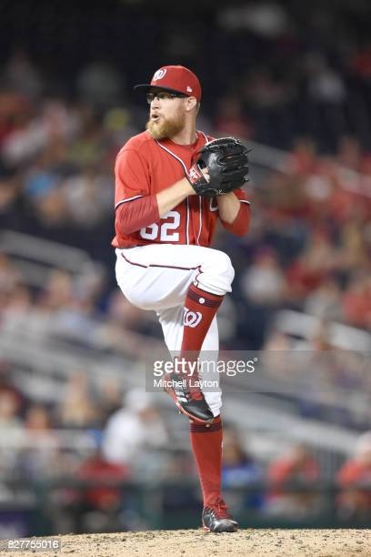 Sean Doolittle of the Washington Nationals pitches during game two of a doubleheader baseball game against the Colorado Rockies at Nationals Park on...