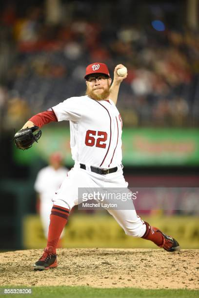 Sean Doolittle of the Washington Nationals pitches in the ninth inning during a baseball game against the Pittsburgh Pirates at Nationals Park on...