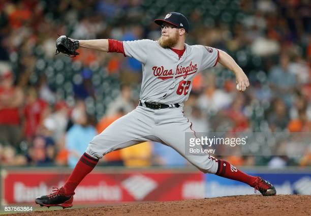 Sean Doolittle of the Washington Nationals pitches in the ninth inning against the Houston Astros at Minute Maid Park on August 22 2017 in Houston...