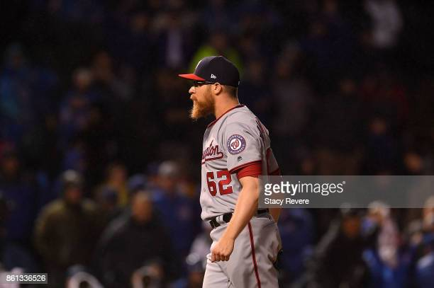 Sean Doolittle of the Washington Nationals prepares to throw a pitch during game four of the National League Division Series against the Chicago Cubs...