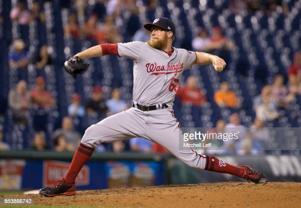 Sean Doolittle of the Washington Nationals throws a pitch in the bottom of the ninth inning against the Philadelphia Phillies at Citizens Bank Park...