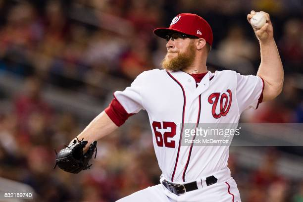 Sean Doolittle of the Washington Nationals throws a pitch to a Los Angeles Angels of Anaheim batter in the ninth inning during a game at Nationals...