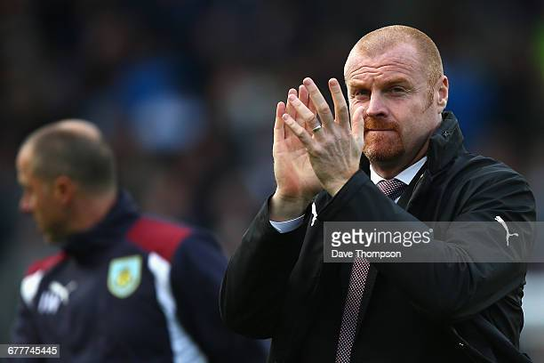 Sean Dyche Manager of Burnley claps the fans prior to kick off during the Premier League match between Burnley and Everton at Turf Moor on October 22...