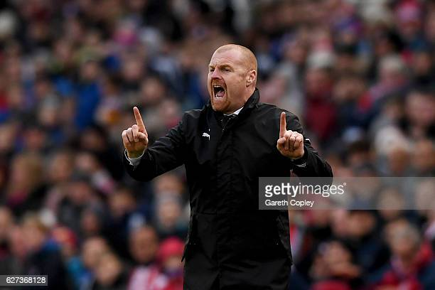 Sean Dyche Manager of Burnley gestures during the Premier League match between Stoke City and Burnley at Bet365 Stadium on December 3 2016 in Stoke...
