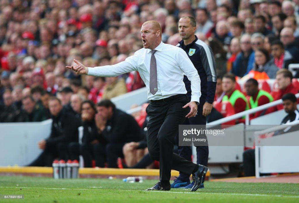 Sean Dyche, Manager of Burnley gives his team instructions during the Premier League match between Liverpool and Burnley at Anfield on September 16, 2017 in Liverpool, England.