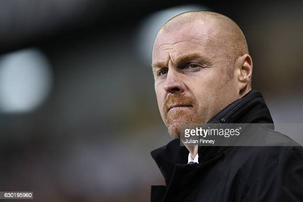 Sean Dyche Manager of Burnley looks on prior to kick off during the Premier League match between Tottenham Hotspur and Burnley at White Hart Lane on...