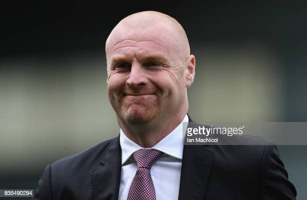 Sean Dyche Manager of Burnley looks on prior to the Premier League match between Burnley and West Bromwich Albion at Turf Moor on August 19 2017 in...