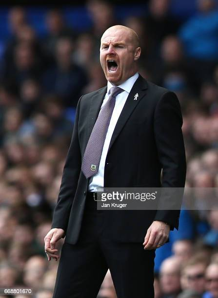Sean Dyche Manager of Burnley reacts during the Premier League match between Everton and Burnley at Goodison Park on April 15 2017 in Liverpool...