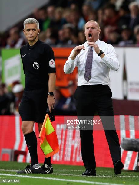 Sean Dyche Manager of Burnley reacts during the Premier League match between Burnley and Huddersfield Town at Turf Moor on September 23 2017 in...