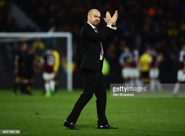 Sean Dyche Manager of Burnley shows appreciation to the fans after the Premier League match between Watford and Burnley at Vicarage Road on February...