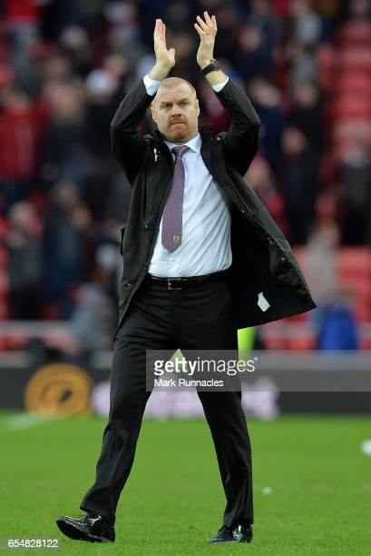 Sean Dyche Manager of Burnley shows appreciation to the fans after the Premier League match between Sunderland and Burnley at Stadium of Light on...