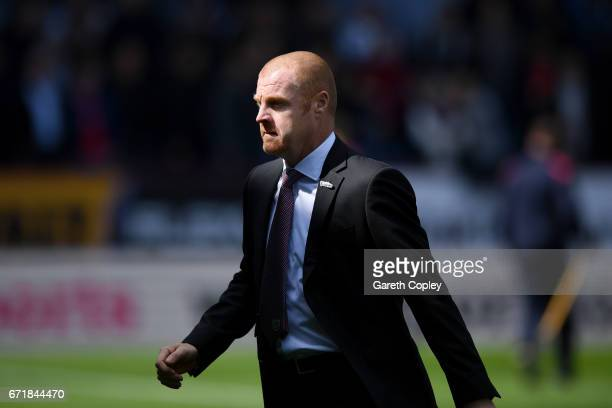 Sean Dyche manager of Burnley walks to the dugout before the Premier League match between Burnley and Manchester United at Turf Moor on April 23 2017...