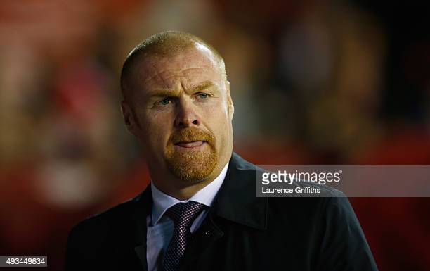 Sean Dyche of Burnley looks on during the Sky Bet Championship match between Nottingham Forest and Burnley at City Ground on October 20 2015 in...