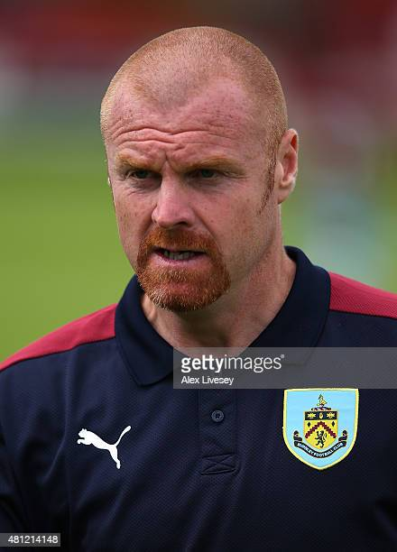 Sean Dyche the manager of Burnley looks on during a Pre Season Friendly match between Accrington Stanley and Burnley at The Store First Stadium on...