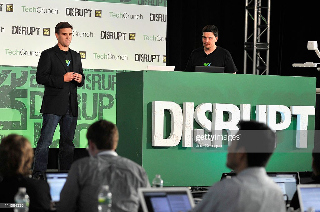 Sean Ellis and Eugene Mandel during TechCrunch Disrupt New York May 2011 at Pier 94 on May 24, 2011 in New York City.