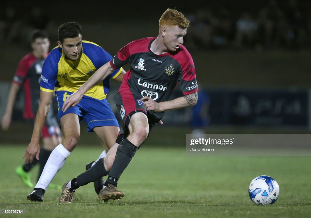Sean Ellis of Heidelberg United FC controls the ball during the National Premier Leagues Grand Final match between the Brisbane Strikers and Heidelberg United FC at Perry Park on September 30, 2017 in Brisbane, Australia.