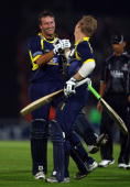 Sean Ervine and Jimmy Adams of Hampshire celebrate victory after the final ball of the innings during the Friends Provident T20 Final between...