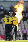 Sean Ervine and Owais Shah of Hampshire during the NatWest T20 Blast match between Hampshire and Middlesex at the Ageas Bowl on June 4 2015 in...